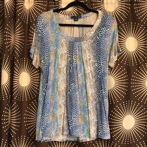 Willi Smith Blue and Brown Snake Print Top